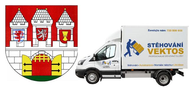 Stěhování Praha 3, stěhovací vůz Vektos a znak Pahy 3